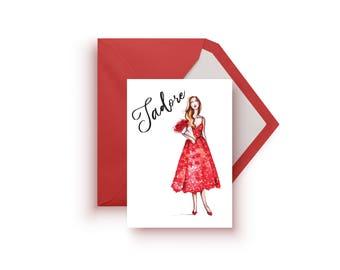Valentine's Day Card, Valentine's day, Love card, Fashion card, Valentine Card, I love you card, Love cards, Fashion illustration