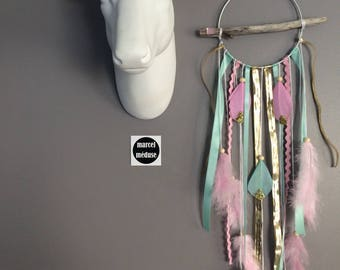 DreamCatcher necklace in shades of pink, mint and gold - dreamcatcher
