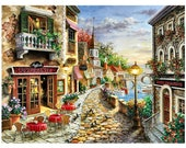 Diamond Painting Kit • Full Drill • Square Drills • Romantic Town by the Sea • 12x16 inches • US Seller • Ships Next Day Priority Mail