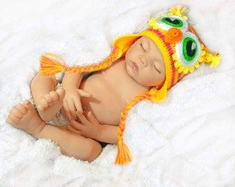 Pink Baby owl hat Knit newborn hat Cute baby hat Crochet owl hat animal hat crochet owl hat for baby girl owl hat crochet owl photo prop hat