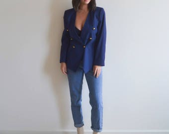 Vintage Double Breasted Navy Blazer (Size M/L)