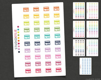 Credit Card Icons - Planner Stickers  - Repositionable Matte Vinyl