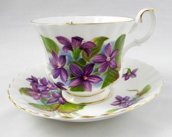 "Royal Albert Tea Cup and Saucer with Purple Flowers, Violets, Vintage Bone China, ""Purple Violet"""