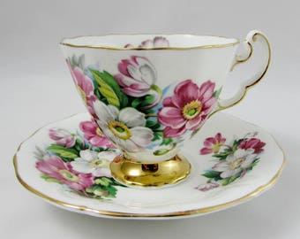 Vintage Tea Cup and Saucer, Bone China, by Adderley with Flowers