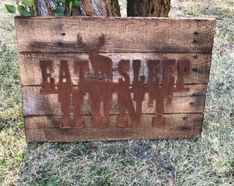 Eat Sleep HUNT, Elk, Hunting Decor, Rustic Farmhouse style Decor,  Wildlife, Country Style, Fixer Upper, Mancave Wall Art, Woodland Nursery