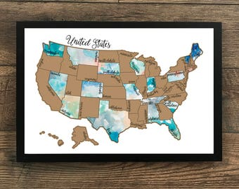 PREORDER- Dreamer Scratch Off Map- United States of America (USA US) Watercolor Scratch Map