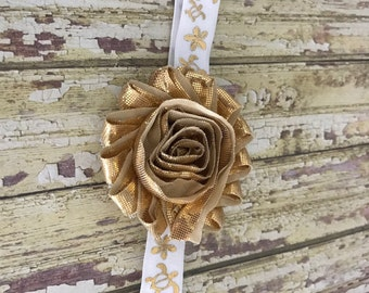 Baby Headband, Hawaiian Headband, White Gold Headband, Honu, Plumeria, Turtle, Hawaii, Metallic Gold Flower, Girls Headband, 14 in. Headband