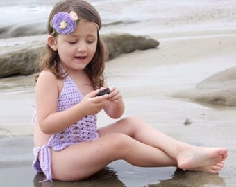 Felt flower headband - pastel purple - felt flowers - Mermaid Swim