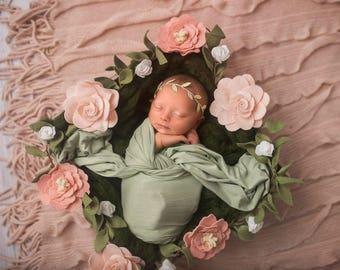 Newborn photo prop floral wreath - Pink and White - newborn girl's photo prop - Wired Hemp Blush felt flower garland