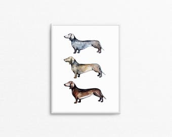 Dachshund Dogs Watercolor Painting, Dorm Print, Wiener Dog, Doxie gift, Dog lover gift, Sausage Dog Gift, Dachshund Gift, Dachshund Print