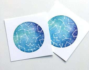 Galaxy Watercolor Painting, Galaxy Art Print, Watercolor Galaxy, Watercolor, Digital Print, Constellations, Galaxy Painting, Square Print