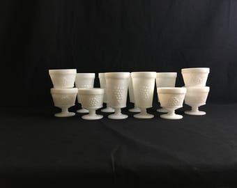 Milk Glass Footed Tumblers and Sherbet Cups | Set of 12 | Grapes Theme | Anchor Hocking