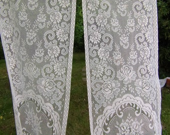 "Pretty Pair of Vintage French net Curtains Cream   Floral Pattern 22"" wide  x 60"" long  57 x 154 cm"