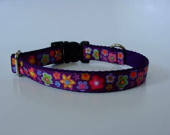 Purple Flower Small Dog Collar - READY TO SHIP!
