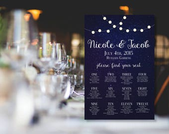 "Starry Night Time Sky with Lights 24""x36"" Wedding Seating Chart Printable"