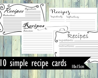 Printable Recipe cards. Bundle of 10 recipe cards. Simple minimalistic recipe cards. 10x15 cm recipe cards. 4x6 inches recipe cards.