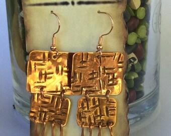 Hammered copper rectangular earrings