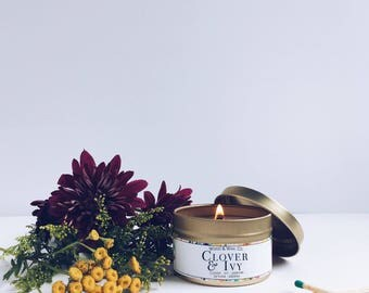 CLOVER & IVY Soy Candle | Candle Tin | Travel Candle