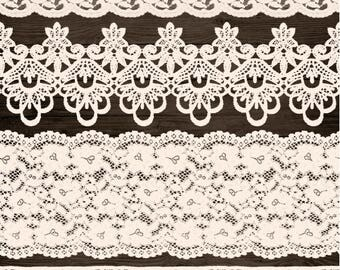 Wedding Lace Clipart. Ivory Lace Border Clip Art. Shabby, Rustic Lace Overlays. Bridal Shower, Wedding Clipart. Vintage Cream Seamless Lace.