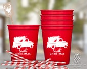 Christmas Party Cups   Christmas Cups   Old Fashion Christmas Truck Cups   Party Favors and Gifts   Santa Cups   Cocktail Party Cups