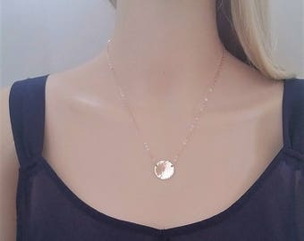 14Kt rose gold-filled circle necklace; rose gold circle necklace; rose gold hammered circle
