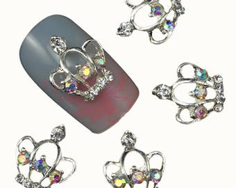 3d nail art 10Pcs Hollow Out Silver Crown 3D Nail Tools Clear Rhinestone For Nails Alloy Glitters DIY