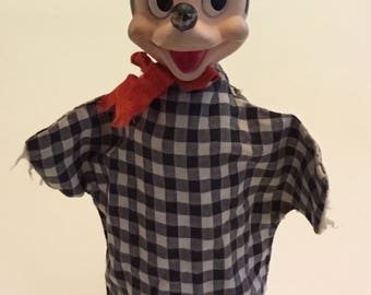 Vintage Mickey Mouse Hand Puppet Walt Disney Products and Gund Manufacturing Company 1960's