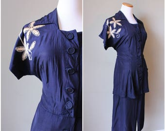 1930s/1940s Navy Blue Embroidered Dress