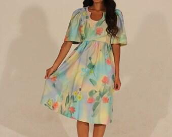 50s Dress Vintage Dress Petite Dress Summer Dress Small Dress Watercolor Dress Floral Dress Short Sleeve Dress Fit and Flare Dress
