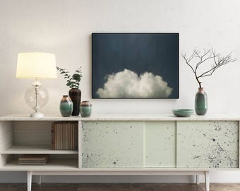Cloud Painting, Abstract Art Print, Abstract Giclee, Navy + White, Modern Art Abstract, Minimalist Painting, Abstract Expressionist Art