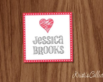Heart Gift Tags Stickers, Personalized Calling Cards, Personal Gift Inserts Enclosure Cards,  Girls Teens Birthday Tags Valentines Day Love