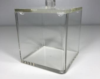 vintage clear lucite container with lid
