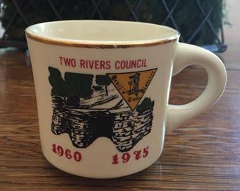 Vintage Boy Scout Coffee Mug Devil's Cave District Two Rivers Council USA 1960-1975
