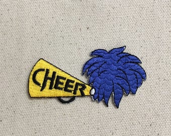 Cheer - Cheerleader - Blue Pom - Yellow Megaphone - Embroidered Patch - Iron on Applique - 682001-B