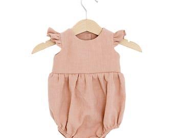 Peach Linen Flutter Sleeve Bubble Playsuit