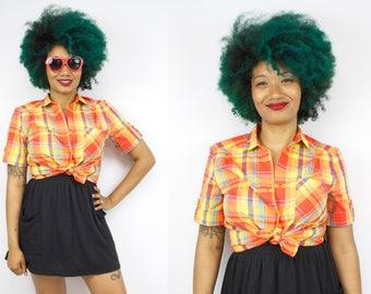 Vintage 80's 90's Rainbow Plaid Button Up Blouse / 1990's Cotton Summer Blouse / ILGWU / Women's Size Small/Medium