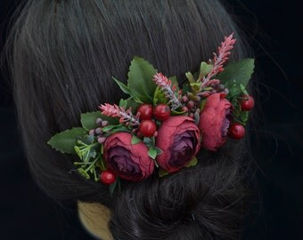 Gift/for/mom Wedding hair comb Burgundy hair comb Rustic wedding Bridal hair accessories Bridesmaid hair comb Wedding hair piece Flower hair