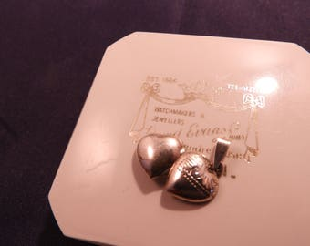 Small sterling silver vintage heart locket - 925 - sterling silver - j