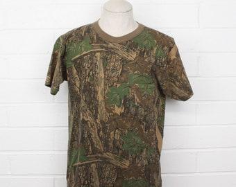 Vintage 1980s Deep Woods Camouflage Rebark Camo Size large 80s T-Shirt