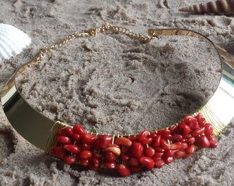 Sea bamboo coral gemstone necklace