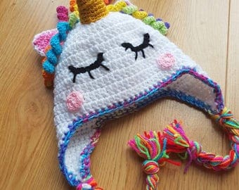 Unicorn Hat, Rainbow Hat, Crocheted Unicorn, Kids Unicorn Hat, Toddler, Child, Adult, Magical, Winter Hat,