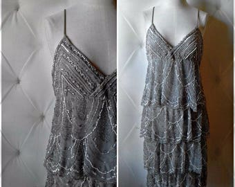 Vintage Cache 20's Flapper Style 90's Heavily Beaded Sequin Dress Cocktail Party Gown Size 10 Tiered Backless with Tassels New Years Grey