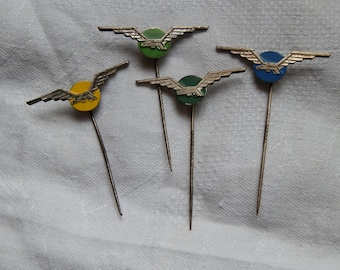 Four Vintage 1960's Eagle Silver Tone Metal  Stick Pins / Lapel Badges - Green, Yellow and Blue