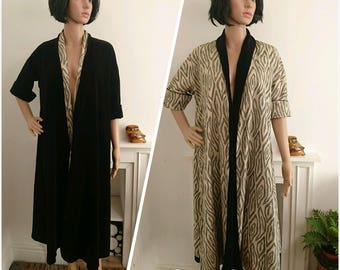 Vintage 1920s Black Velvet Reversible Coat Opera Gown House Robe 30s S M / UK 8 10 12 / EU 36 38 40 / US 4 6 8
