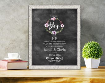 Engagement announcement  Framed Engagement Gift Boho style Chalkboard