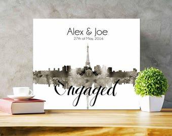 Paris Skyline Printable Paris Skyline Engagement Gift Custom Paris Skyline gift- Printable Files only