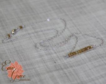 READY TO SHIP - Citrine Gemstone Bar Necklace, Sterling Silver, November Birthstone Necklace