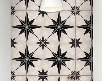 Tile Decals - Tiles for Kitchen/Bathroom Back splash - Floor decals - Astra in Black