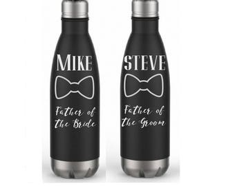 1 Water Bottle- Father of the Bride Gift- Father of the Groom Gift- Engraved Water Bottle- Personalized Wedding Water Bottle-Stainless Steel