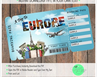 Printable Ticket to Europe Boarding Pass, Customizable Template, Digital File - You Fill and Print